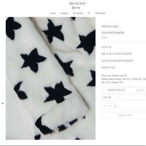 Crescent Drive Star Coat in White & Black Stars